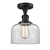 This item: Large Bell Black Antique Brass 12-Inch One-Light Semi Flush Mount with Clear Dome Glass