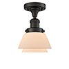 This item: Fulton Oiled Rubbed Bronze 11-Inch LED Semi Flush Mount with Matte White Cased Sphere Glass