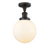 This item: Franklin Restoration Oil Rubbed Bronze Eight-Inch One-Light Semi-Flush Mount with Matte White Glass Shade