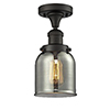 This item: Small Bell Oiled Rubbed Bronze Nine-Inch One-Light Semi Flush Mount with Smoked Bell Glass