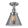 This item: Large Cone Polished Chrome 12-Inch One-Light Semi Flush Mount with Smoked Cone Glass