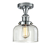 This item: Large Bell Polished Chrome 12-Inch One-Light Semi Flush Mount with Clear Dome Glass