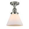 This item: Large Cone Polished Nickel 12-Inch LED Semi Flush Mount with Matte White Cased Cone Glass