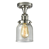 This item: Small Bell Polished Nickel Nine-Inch One-Light Semi Flush Mount with Seedy Bell Glass