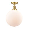 This item: Franklin Restoration Satin Gold 15-Inch LED Semi-Flush Mount with Matte White Cased Beacon Shade