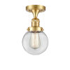 This item: Franklin Restoration Satin Gold 11-Inch One-Light Semi-Flush Mount with Clear Beacon Shade