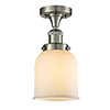 This item: Small Bell Brushed Satin Nickel Nine-Inch LED Semi Flush Mount with Matte White Cased Bell Glass