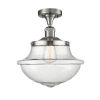 This item: Franklin Restoration Brushed Satin Nickel 12-Inch One-Light Semi-Flush Mount with Seedy Glass Shade