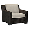 This item: Rustic Black Walnut Wicker Lounge Chair with Linen Dove Cushion