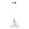 This item: Single Satin Nickel and Polished Brass 10-Inch One-Light Mini Pendant with Clear Glass