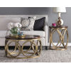 This item: Gemma Dark Brown and Antiqued Brass Round Coffee Table