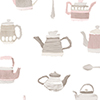 This item: Tea Pots Pink and Grey Wallpaper - SAMPLE SWATCH ONLY