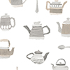 This item: Tea Pots Beige and Grey Wallpaper - SAMPLE SWATCH ONLY