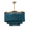 This item: Cabaret Blue and Natural Brass Three-Light Chandelier