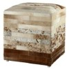 This item: Brown Leather Striped Hide Pouf Ottoman