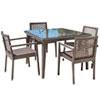 This item: Bronze Grey Dining Set with Sunbrella Canvas Melon cushion, 5 Piece