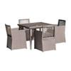 This item: Bronze Grey Outdoor Woven Dining Set with Sunbrella Cabaret Blue Haze cushion, 5 Piece