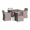 This item: Bronze Grey Outdoor Woven Dining Set with Sunbrella Passage Poppy cushion, 5 Piece