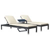 This item: Onyx Black Outdoor Chaise Lounge Sets with Sunbrella Linen Silver Cushion, 3 Piece