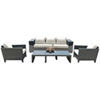 This item: Onyx Black and Grey Outdoor Seating Set Sunbrella Air Blue cushion, 4 Piece