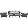 This item: Onyx Black and Grey Outdoor Seating Set Sunbrella Getaway Mist cushion, 4 Piece