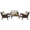 This item: Oasis Java Brown Outdoor Seating Set Sunbrella Gavin Mist cushion, 4 Piece