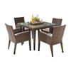 This item: Oasis Java Brown Outdoor Dining Set with Sunbrella Cabaret Blue Haze cushion, 5 Piece