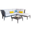 This item: Poolside Canvas Taupe Six-Piece Outdoor Sectional Set