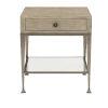 This item: Santa Barbara Sandstone Vintage Nickel Metal Glass Stainless Steel and White Oak Veneers End Table