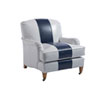 This item: Upholstery Gray and Blue Sydney Leather Chair With Brass Caster