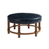 This item: Upholstery Blue Naples Leather Cocktail Ottoman