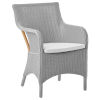 This item: Marie Light Gray and White Armchair Loom with Polyester Snow Cushion