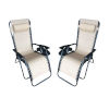 This item: Cream Outdoor Zero Gravity Lounger with Cup Holder, Set of 2