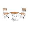 This item: Balcony Nature Sand Teak Round Folding Table Bistro Set with Iron Legs, 3-Piece