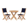 This item: Stella Blue Teak Outdoor Round Folding Table and Chair Bistro Set, 3-Piece
