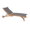 This item: Pearl Taupe Teak Outdoor Chaise Lounge with Wheels