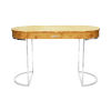 This item: Glossy Burl Wood and Polished Nickel Oval Desk
