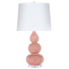 This item: Coral and Gold Marbling Table Lamp with White Linene Shade