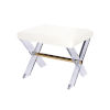 This item: Polished Brass and White Linen Stool