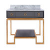 This item: Glossy Dark Grey Lacquer and Gold Leaf Two Drawer Bath Vanity