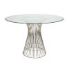 This item: Polished Stainless 42-Inch Dining Table with Glass Top