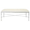 This item: Polished Nickel and White Vinyl Bench