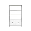 This item: Glossy White Lacquer and Nickel 45-Inch Cabinet with Glass Shelf