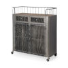 This item: Udo Gray Bar Cart with Two Door and Two Drawer