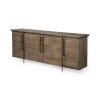 This item: Maddox Brown and Black Solid Wood Four Door Cabinet Sideboard