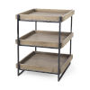 This item: Trey III Medium Brown and Black Square Three-Tier End Table