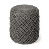 This item: Allium Gray Wool Diamond Cylindrical Pouf