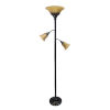 This item: Quince Restoration Bronze Three-Light Floor Lamp with Amber Shade