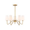 This item: Selby Natural Brass 26-Inch Five-Light Chandelier with White Shades