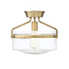 This item: Nicollet Natural Brass 13-Inch One-Light Semi Flush Mount